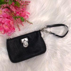 Michael Kors black pebbles leather wristlet